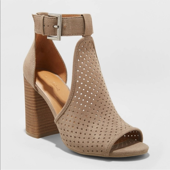 New Suede Peeps Toes Pump Size 7 Taupe